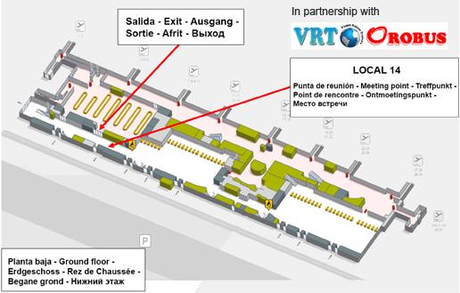 Point de rendez-vous: desk 14, situé à droite dans le Terminal d'arrivées.