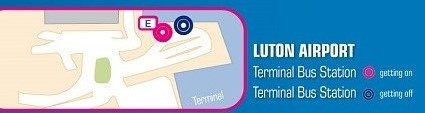 Terravision bus Luton – fermata E all'Aeroporto di Luton