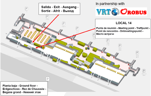 Meeting Point: desk 14 located in the Arrivals Terminal, on the right. in it
