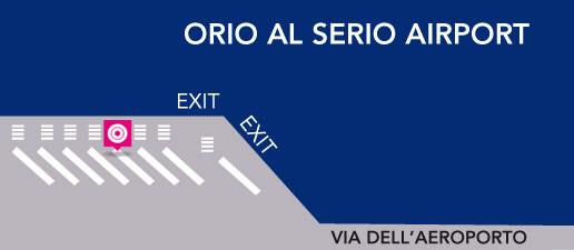 Terravision bus Milan-Bergamo, bus stop at Bergamo Orio al Serio Airport
