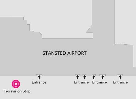 Terravision bus stop at Stansted Airport